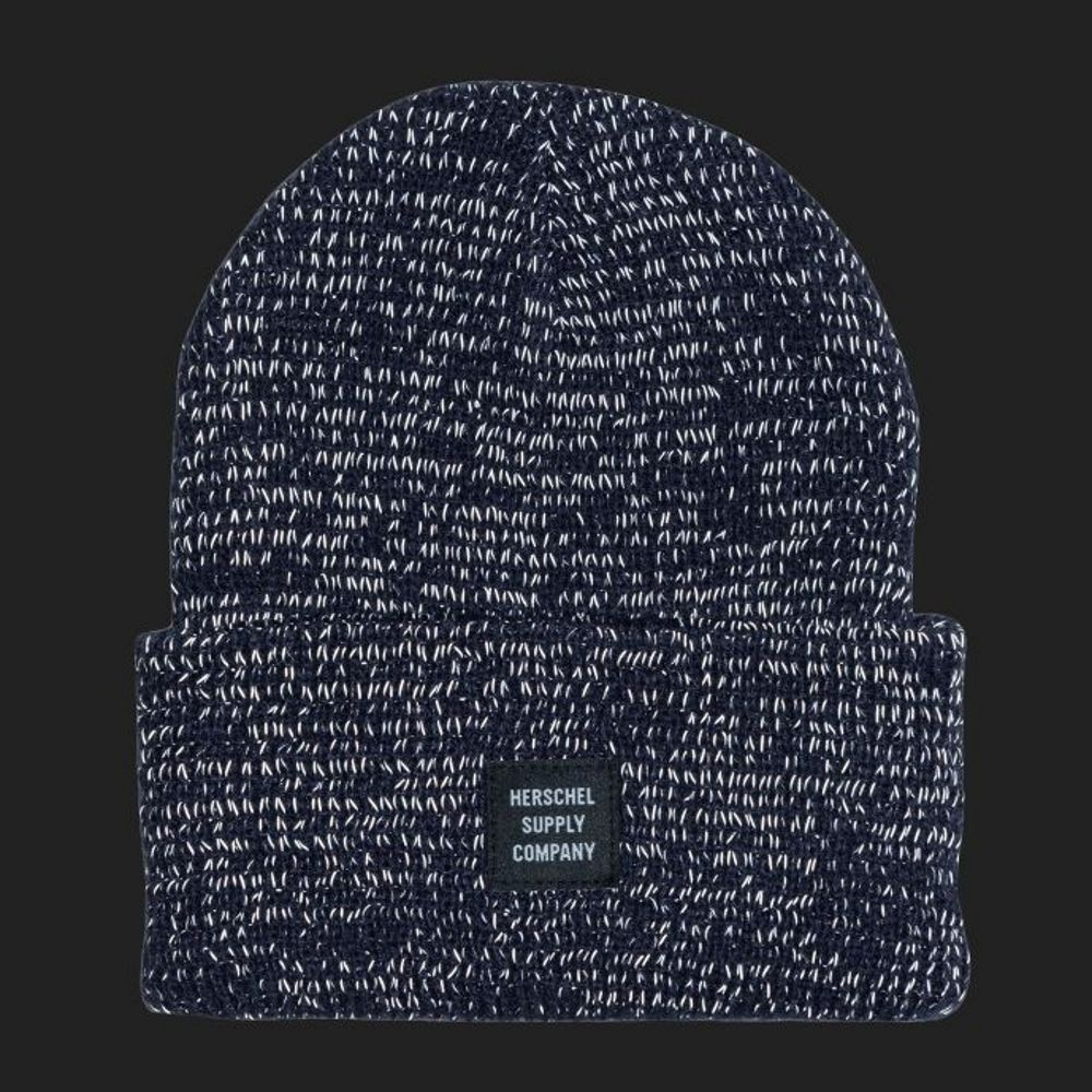 337a070819c The Herschel Abbott Reflective Beanie in Navy is a men s hat made for  comfort and warmth in the winter. This beanie features reflective strands  embedded in ...