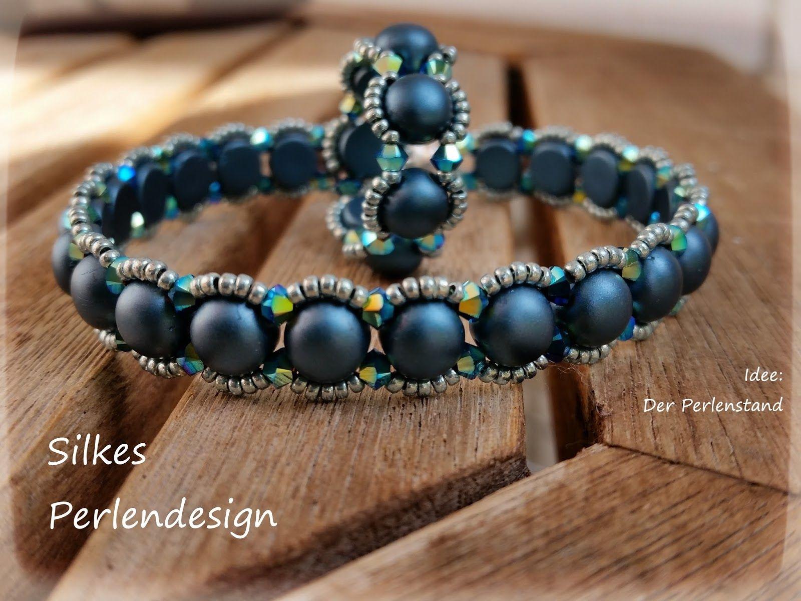 Silkes perlendesign schlichtheit mit 2 hole cabochons makramee pinterest schmuck armband - Perlenarmband basteln ...