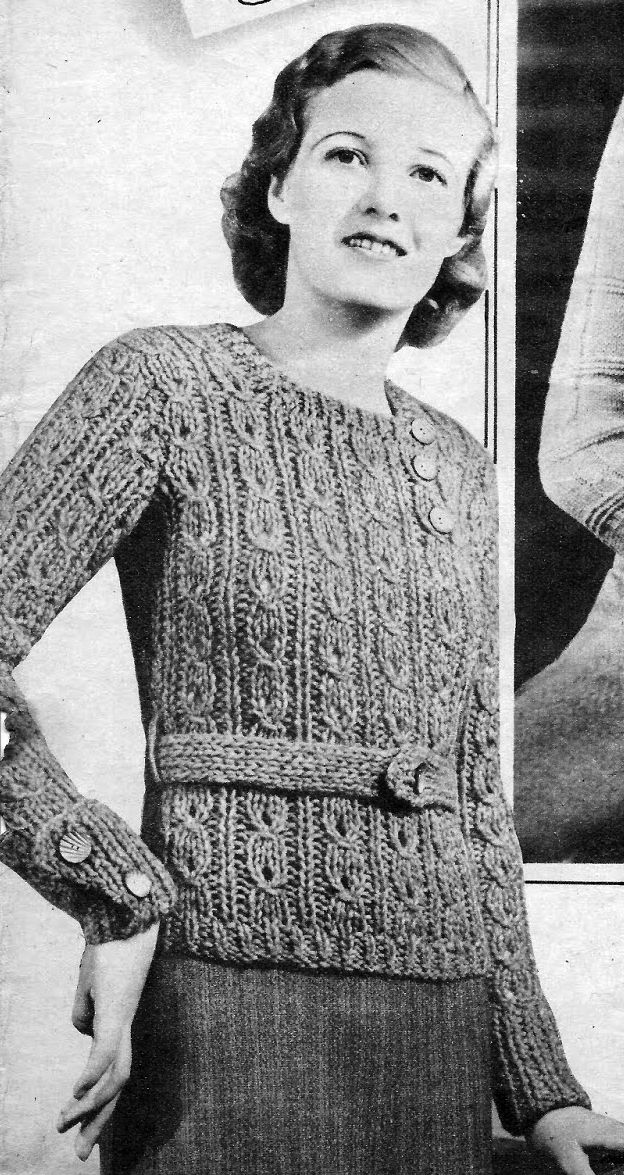 The Vintage Pattern Files 1930s Knitting Jumper In Thick Wool
