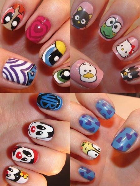 Nail Art 2012 Cartoon Characters Hello Kitty Nails Art Hello Kitty Nails Nail Art Designs