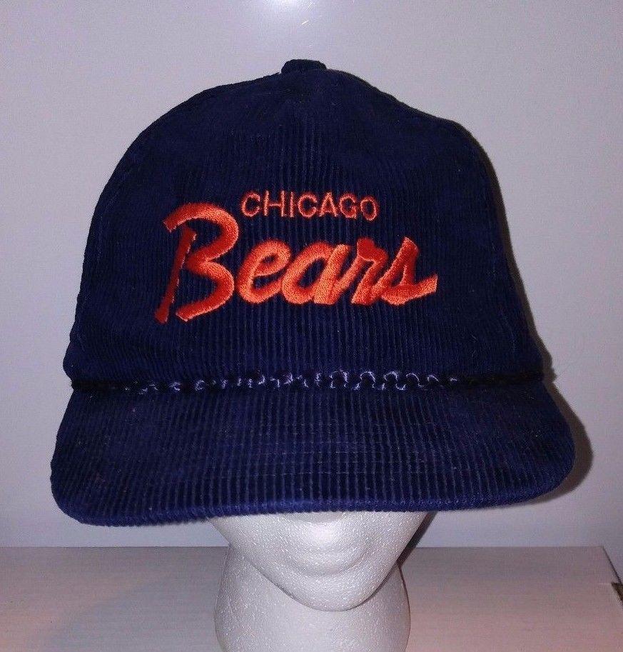SCRIPT Corduroy Chicago Bears NFL Football Snapback Hat VTG Ditka Era Must  See!  MMB  ChicagoBears 75dd879b2b7b