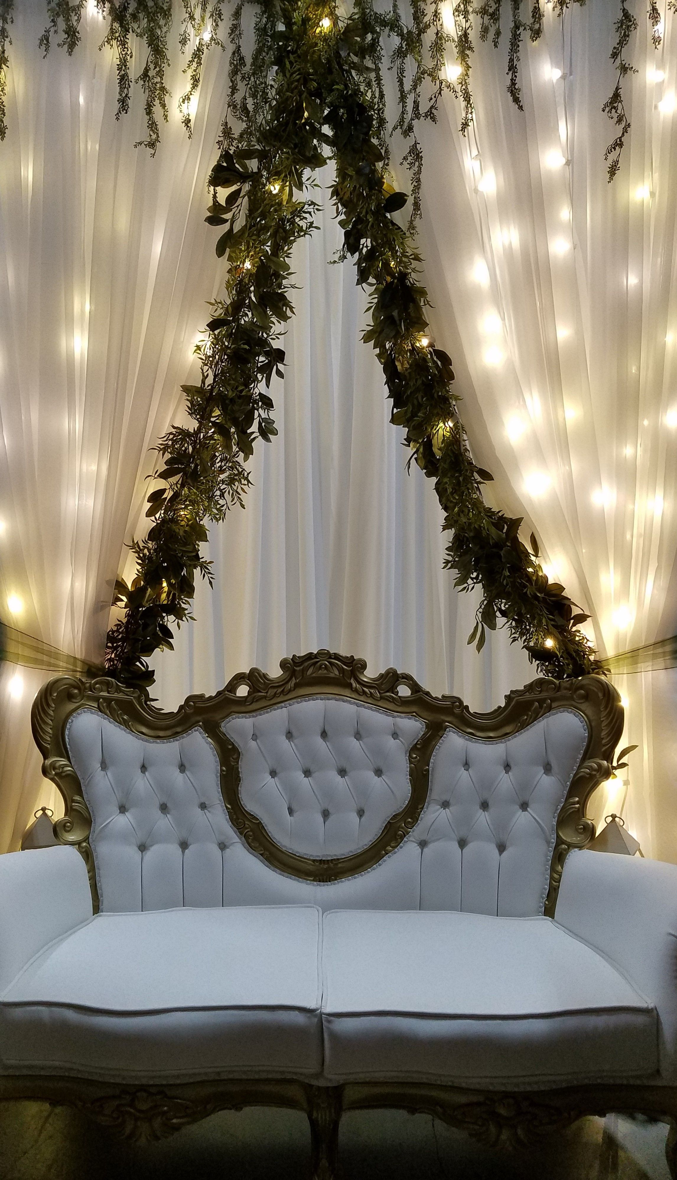 Sheer Lit Backdrop With A Victorian Couch/sofa. Perfect