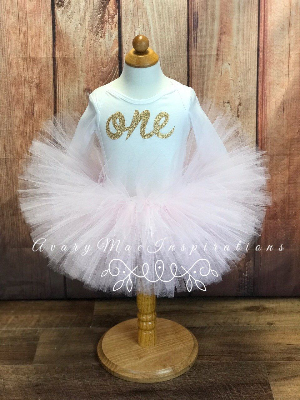 Light Pink Blush First Birthday Tutu Outfit, Girls 1st