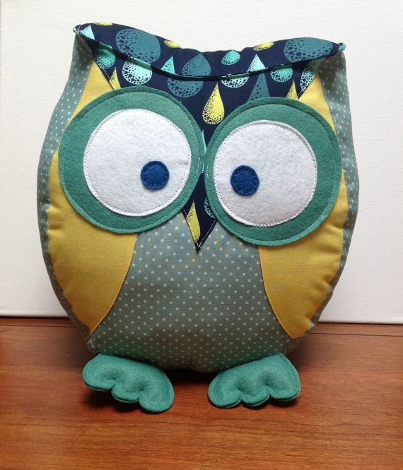 Chubby owl pillow in shades of green, yellow and navy. via Etsy
