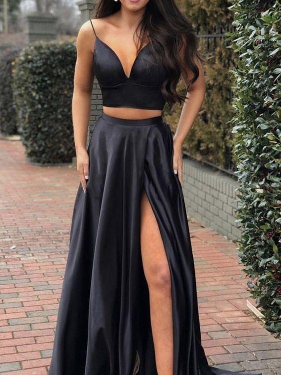 A Line V Neck 2 Pieces Black Satin Long Prom Dress with Leg Slit, 2 Pieces Black Graduation Dresses, Black Formal Dresses