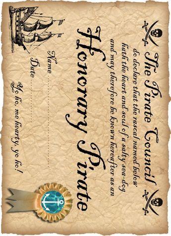 Definitely Free Printable Honorary Pirate Certificate 4h