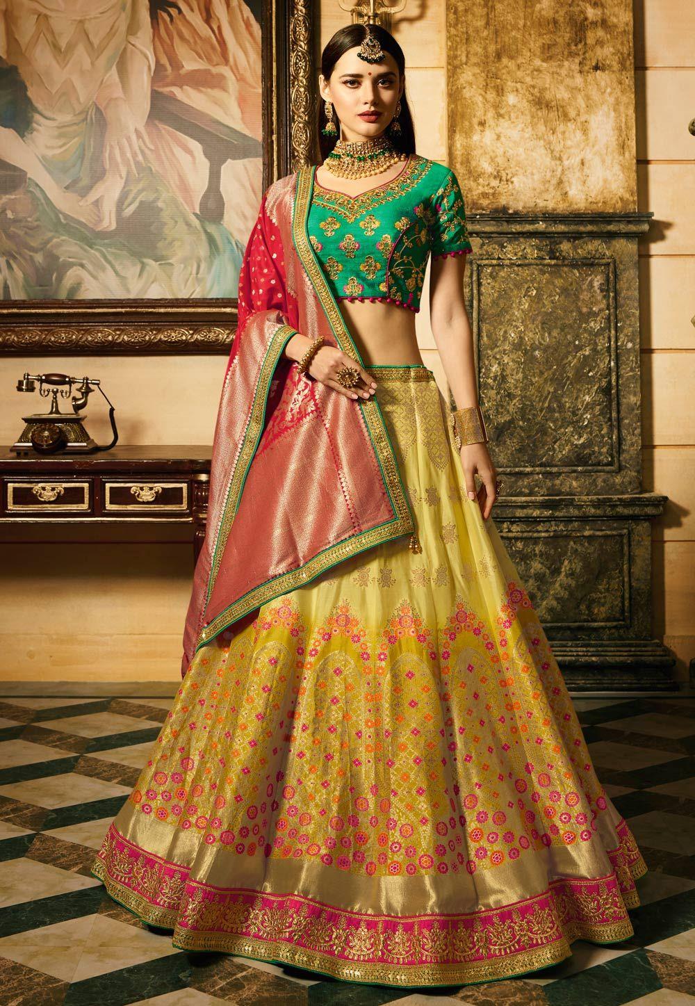 c4c010b453 Buy Yellow Banarasi Silk Circular Lehenga Choli 153914 online at best price  from vast collection of Lehenga Choli and Chaniya Choli at  Indianclothstore.com.