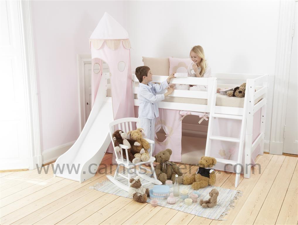 Cama Semialta Con Tobogán Holly Toboganes Habitaciones Infantiles Camas