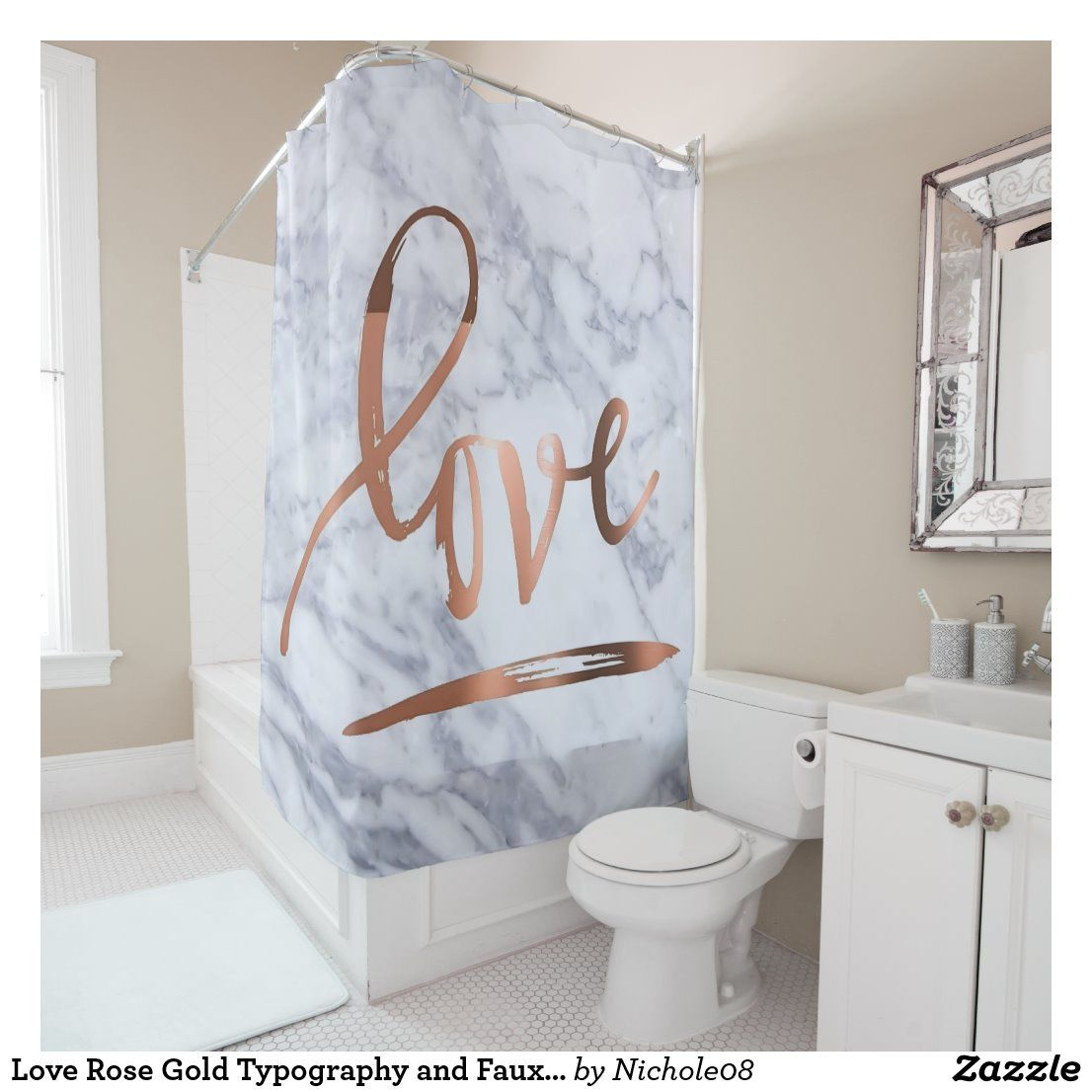 Love Rose Gold Typography And Faux Marble Shower Curtain Zazzle Com In 2020 Gold Bathroom Decor Marble Showers Rose Gold Shower Curtain