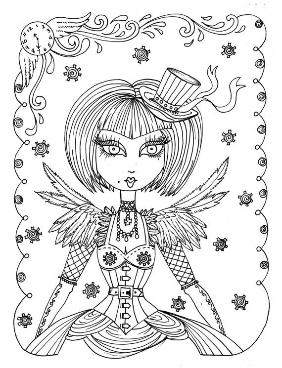 SteamPunk Girls Coloring Book For All Ages Fun Quirky Cute Digi