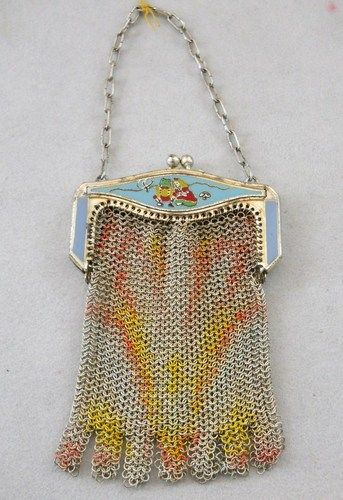 Vintage Whiting & Davis Child's Mesh Purse Princess & Frog on Enamel Frame