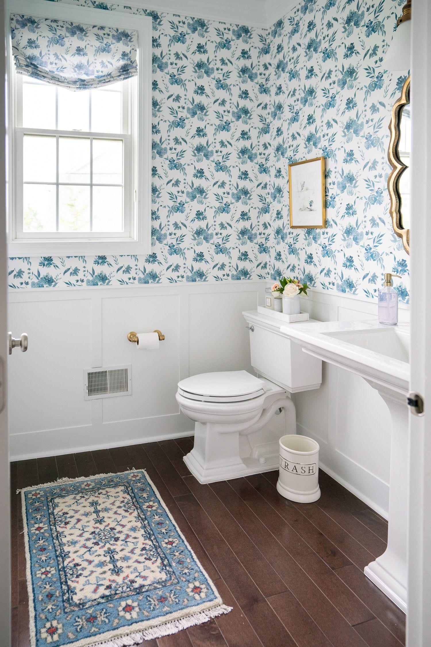 Powder Room Makeover Powder Room Makeover Caitlin Wilson Wallpaper Room Makeover Fashionable style bathroom wallpaper