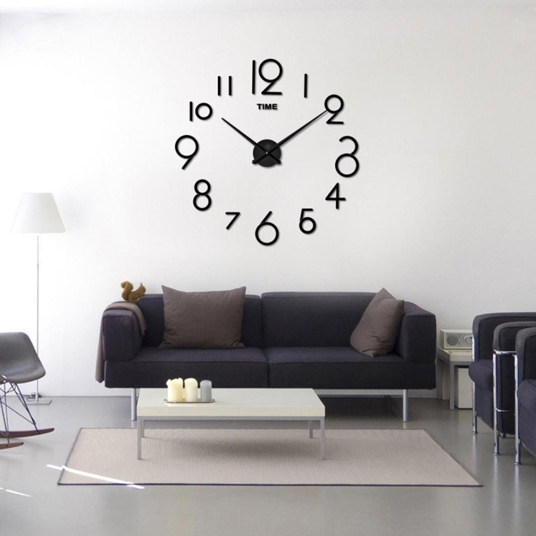 Allywit Wall Clock Living Room DIY 3D Home Decoration Mirror Large ...