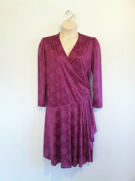 Plus Size Vintage 80s Purple Wrap Dress by LucyRayRetro on Etsy, $26.00