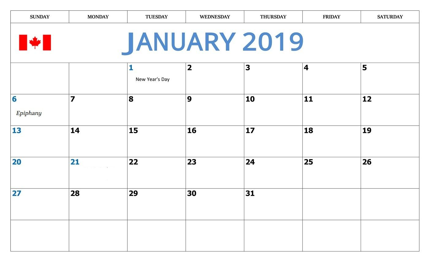 2019 Monthly Calendar Canada January 2019 Calendar with Canada Holidays | Monthly Calendar
