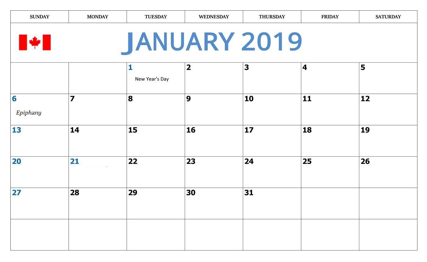 january 2019 canadian calendar