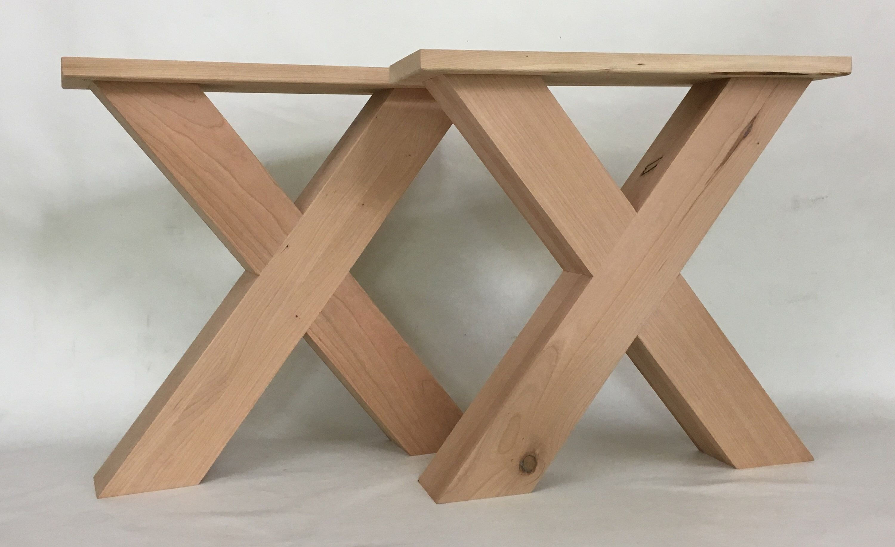 Chunky Solid Cherry X Style Farmhouse Coffee Table Legs 17 Inch