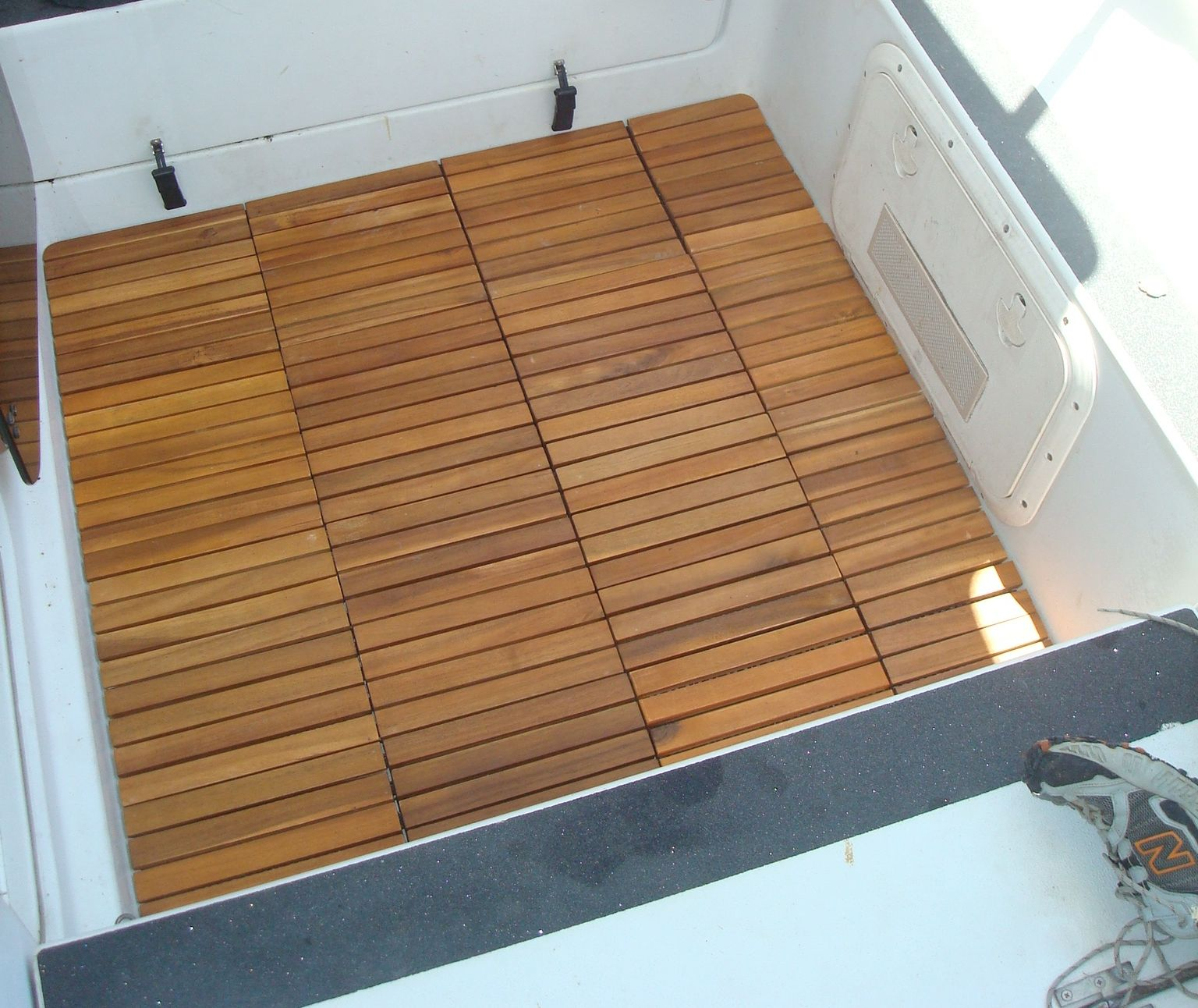 Cockpit Floor With Square Tiles From Ikea Boat Interior Liveaboard Boats Practical Sailor