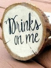 Set of 20 Drinks On Me Wooden Coasters/Favors