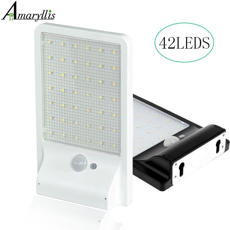 opgewaardeerd 42 led solar licht ultradunne draadloze pir motion sensor solar lamp ip65 waterdichte outdoor verlichting