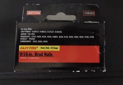 HTF 2 Packs Craftsman Heavy Duty 9 16 Brad Nails 18gauge 1000 Pc Ttl