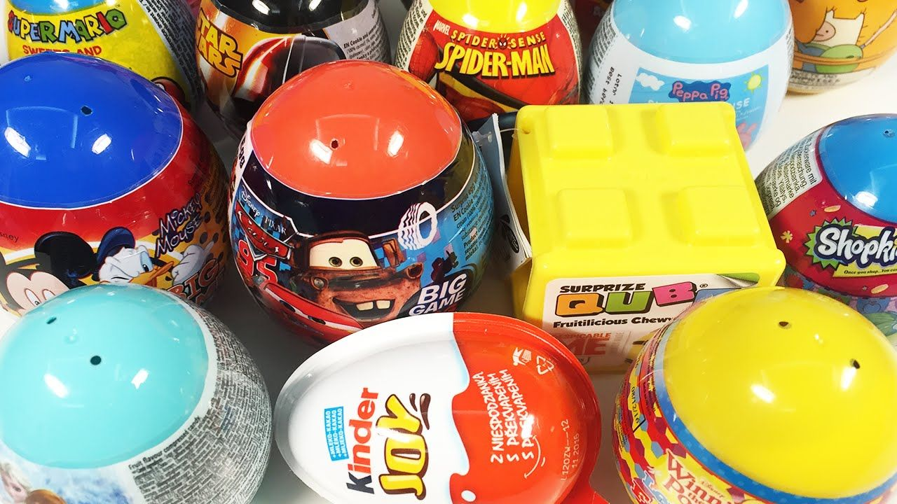 Kinder joy toys car   Surprise Eggs Collection Kinder Joy Disney Mickey Mouse Spiderman