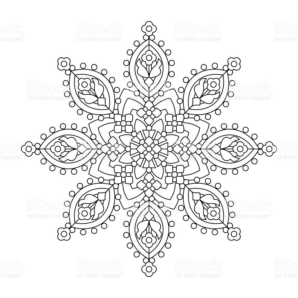 Whimsical designs coloring book - Abstract Mandala Or Whimsical Snowflake Line Art Design Or Coloring