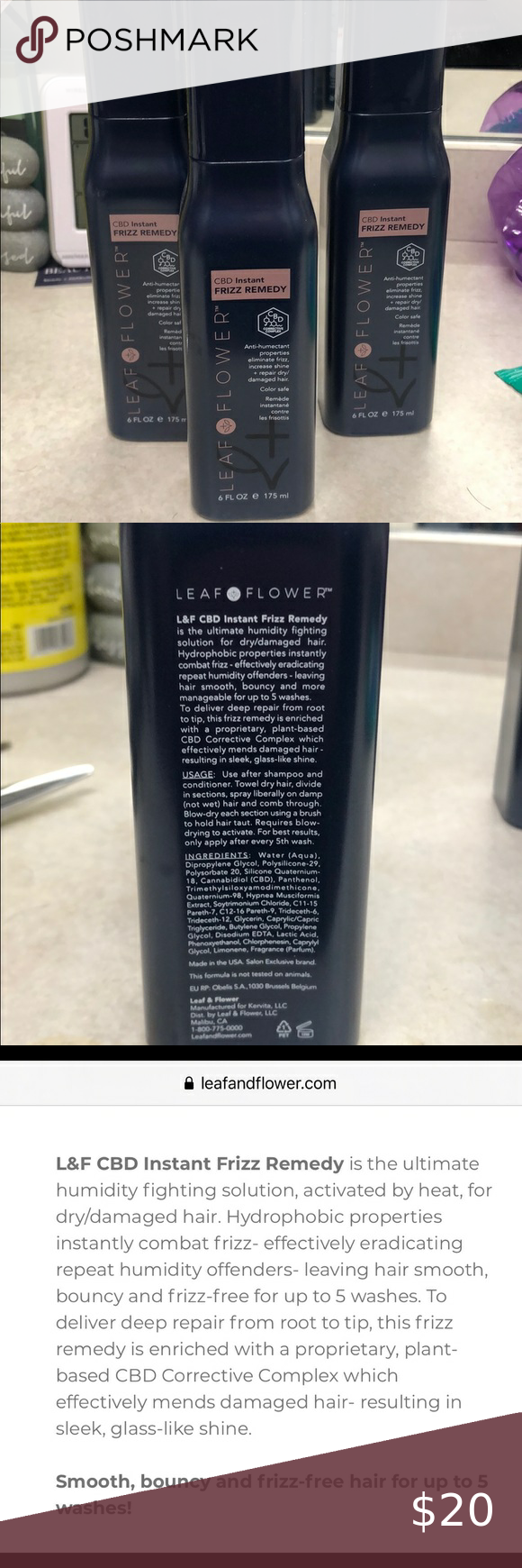 Leaf and Flower instant frizz remedy Anti humectant properties, eliminates frizz, repairs dry damage