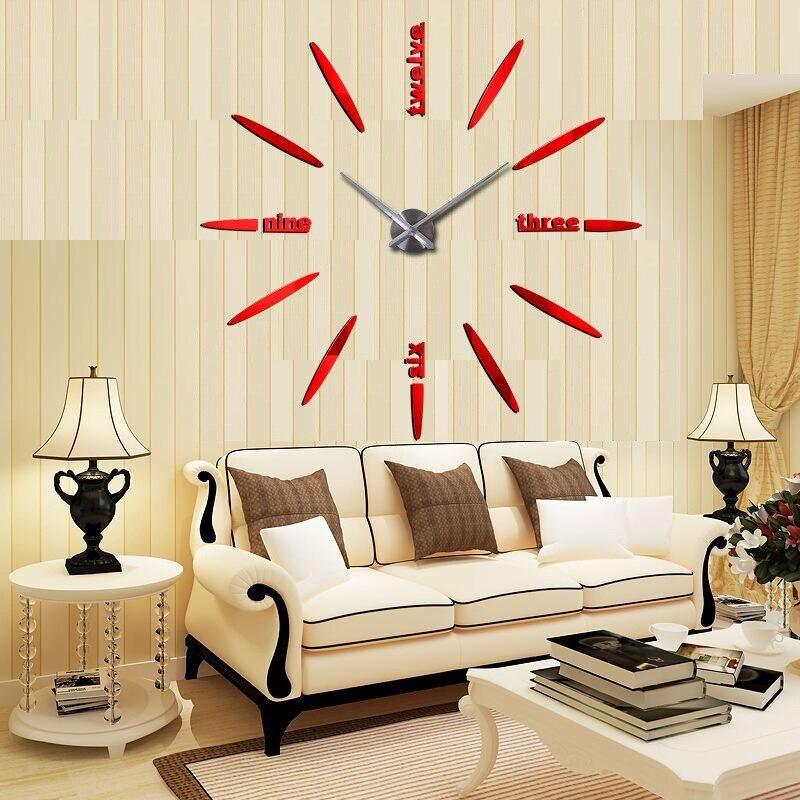 Acrylic Mirror Wall Clock Big Quartz Watch Large Size Diy Big Wall Clocks Sticker Living Room Home Decor Watches Stickers 3d Rooms Home Decor Interior Design Living Room Big Wall Clocks