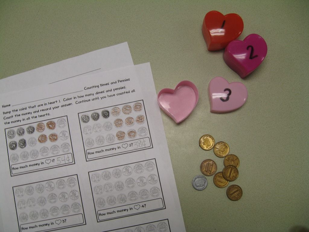 First Grade Shenanigans Using Plastic Heart Containers