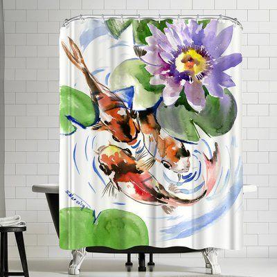 East Urban Home Suren Nersisyan Koi Pound Single Shower Curtain