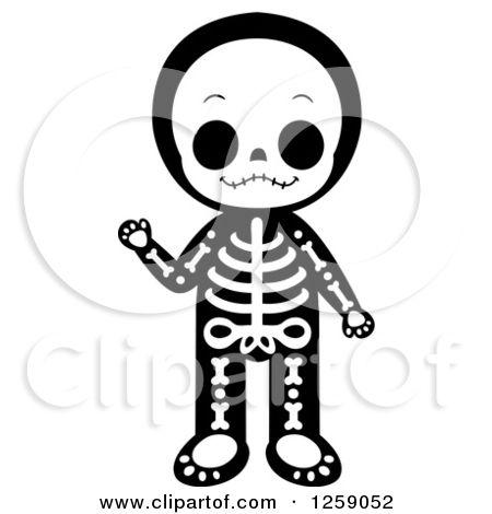 Royalty Free Vector Illustration By Cartoon Character Studio 1259052 Skeleton Drawings Cute Skeleton Free Vector Illustration