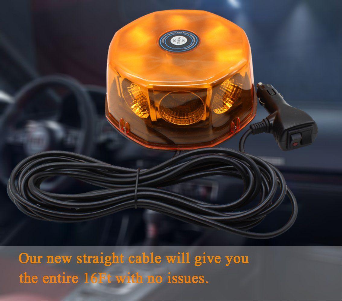 WoneNice Amber COB 8 LED Emergency Hazard Warning Light 48