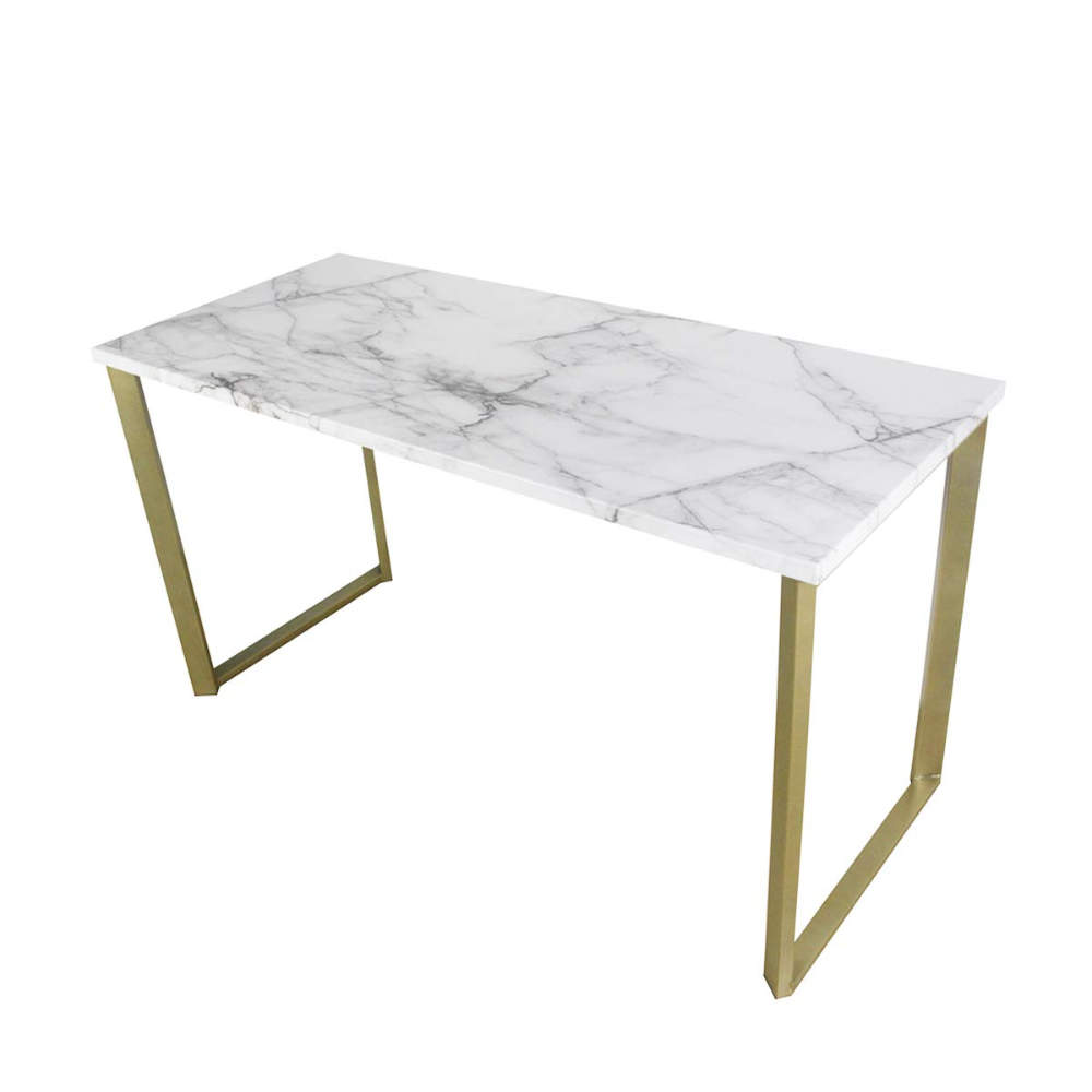 Roomfitters Marble Print Top Writing Desks Workstation For Home Office Gold Legs 55 1 W Work Station Desk Marble Desk Faux Marble Dining Table