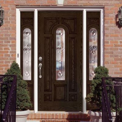 Feather River Doors Medina Zinc Center Arch Lite Stained Walnut Oak Fiberglass Prehung Front Door Wi Arched Exterior Doors Fiberglass Exterior Doors Front Door