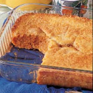 Pumpkin Buckle.  It's magic!  The crust rises through the top during baking. This is the family's favorite pumpkin pie replacement.  When I make this, I cut about 1/2 of a cup of sugar out of the filling mixture and it's still sweet.