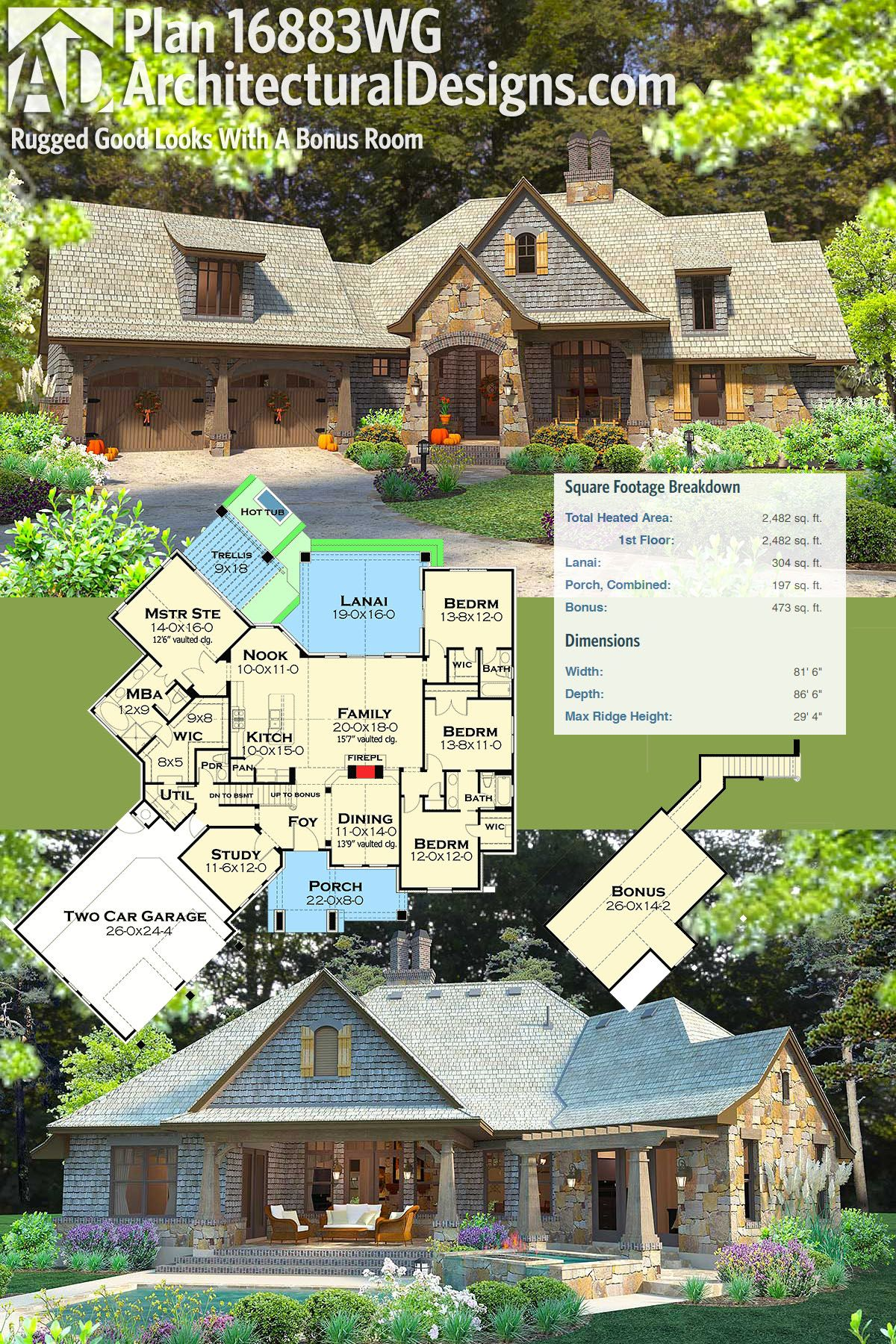 Plan 16883wg rugged good looks with a bonus room craftsman architectural designs rugged craftsman house plan 16883wg gives you 4 bedrooms in a split bedroom layout malvernweather Images