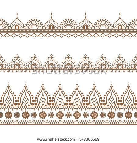 Border Brown Henna Elements In Indian Mehndi Style For Card Or