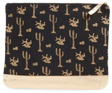 alola Black & Metallic Gold Cactus Print Canvas & Leather Clutch