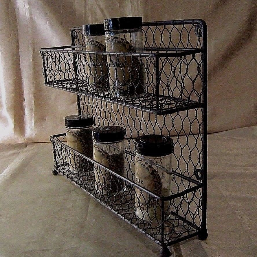 DARK BROWN WROUGHT IRON & CHICKEN WIRE SPICE RACK - 2 Tiers w/Railings, No Jars #Unbranded $16.99