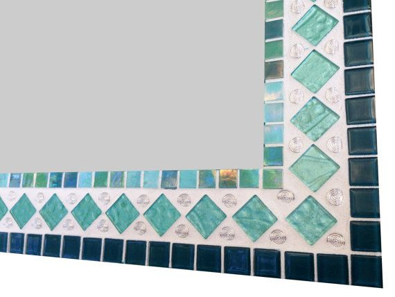 Mosaic Mirror Wall Decor teal turquoise aqua wall mirror, mixed media mosaic, glass mirror