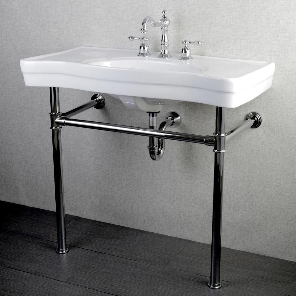 Kingston Brass Console Table Combo In White With Metal Legs In Polished Chrome Hvpb1361st The Home Depot Vintage Bathroom Sinks Bathroom Sink Vanity Vintage Sink