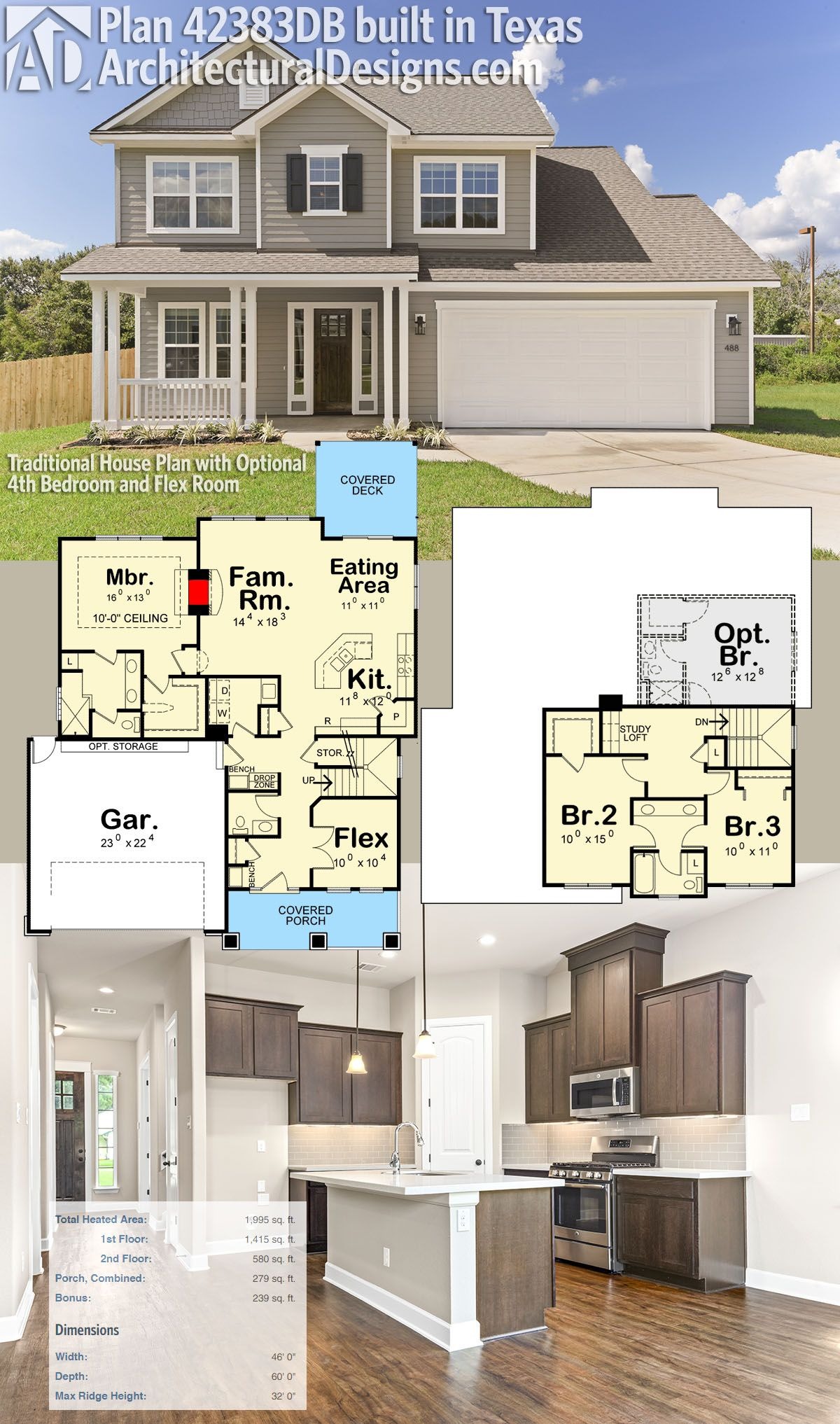 Plan 42383db Traditional House Plan With Optional 4th Bedroom And Flex Room New House Plans Traditional House Plans House Plans