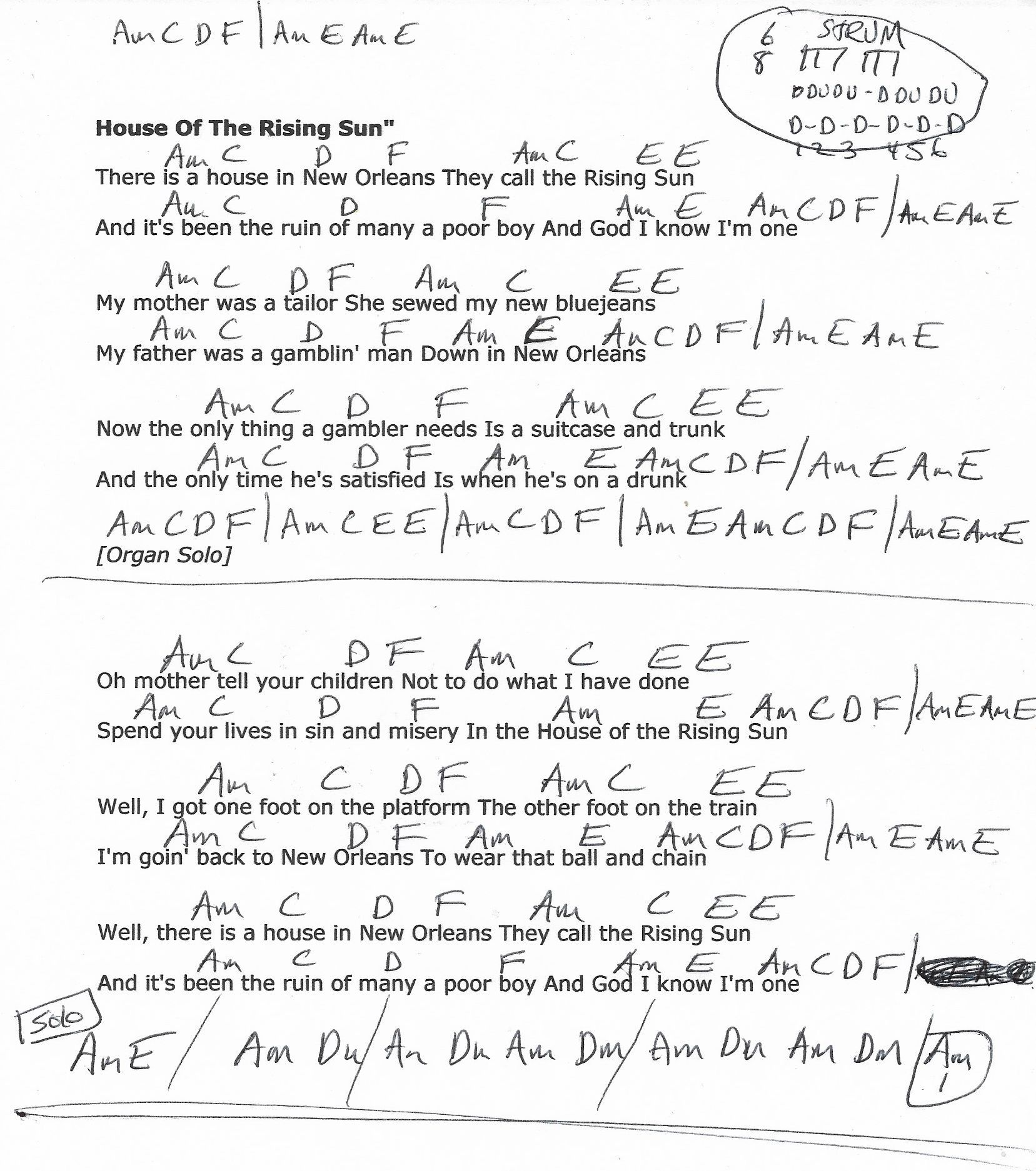 House of the Rising Sun (The Animals) Guitar Chord Chart