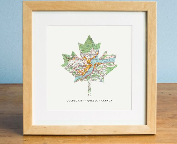 Canada Maple Leaf Map Map Of Quebec Quebec City Map Maple Etsy In 2020 Personalized Map Art Map Art Map Print