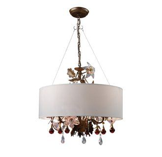 Retrofit Drum Shade Over Painted Chandelier In Office Remodel