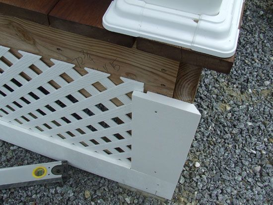 Great advice and photo of a vinyl lattice porch skirt on a ... on plastic fences, plastic doors, plastic siding, plastic mobile home faucets, plastic surgeons mobile al,