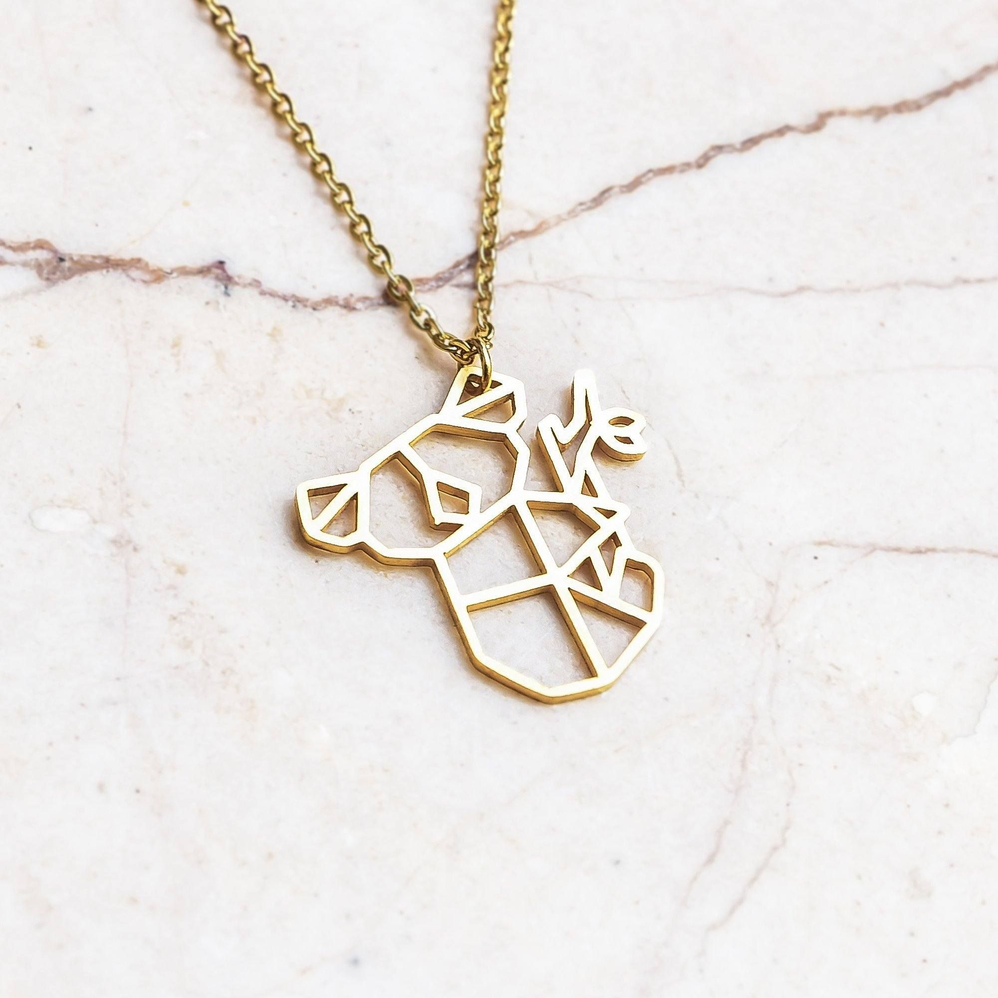 td {border: 1px solid #ccc;}br {mso-data-placement:same-cell;} For the Aussies, the cuddlers, and the cuties — hang tight, it's the koala. Gold edition.Geometric origami animal koala necklace, gold color. Our necklaces are delightfully packaged, ideal for a gift, with free US delivery. 18 karat gold plated ultra durable stainless steel Precision laser cut Koala pendant dimensions: 7/8 inch wide X 7/8 inch high (21mm wide X 21mm high) Necklace length: 15 inches (38cm), with 2 3/4 inches (7cm) adj