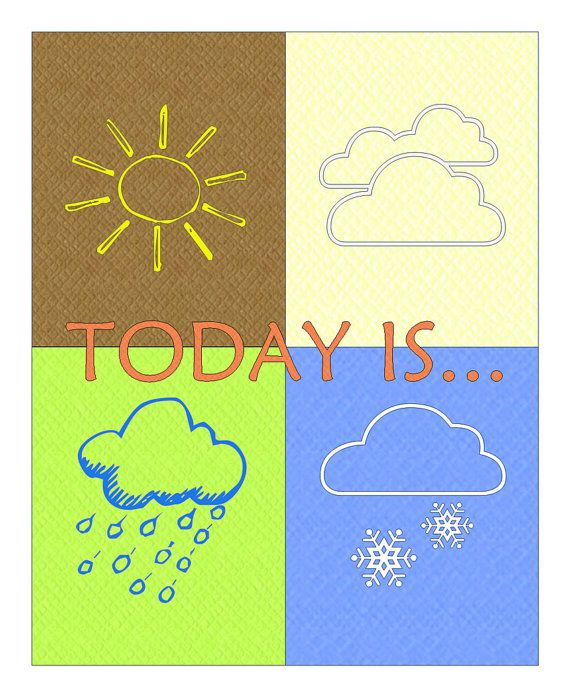Weather Symbols Childrens Print With Texured Background By