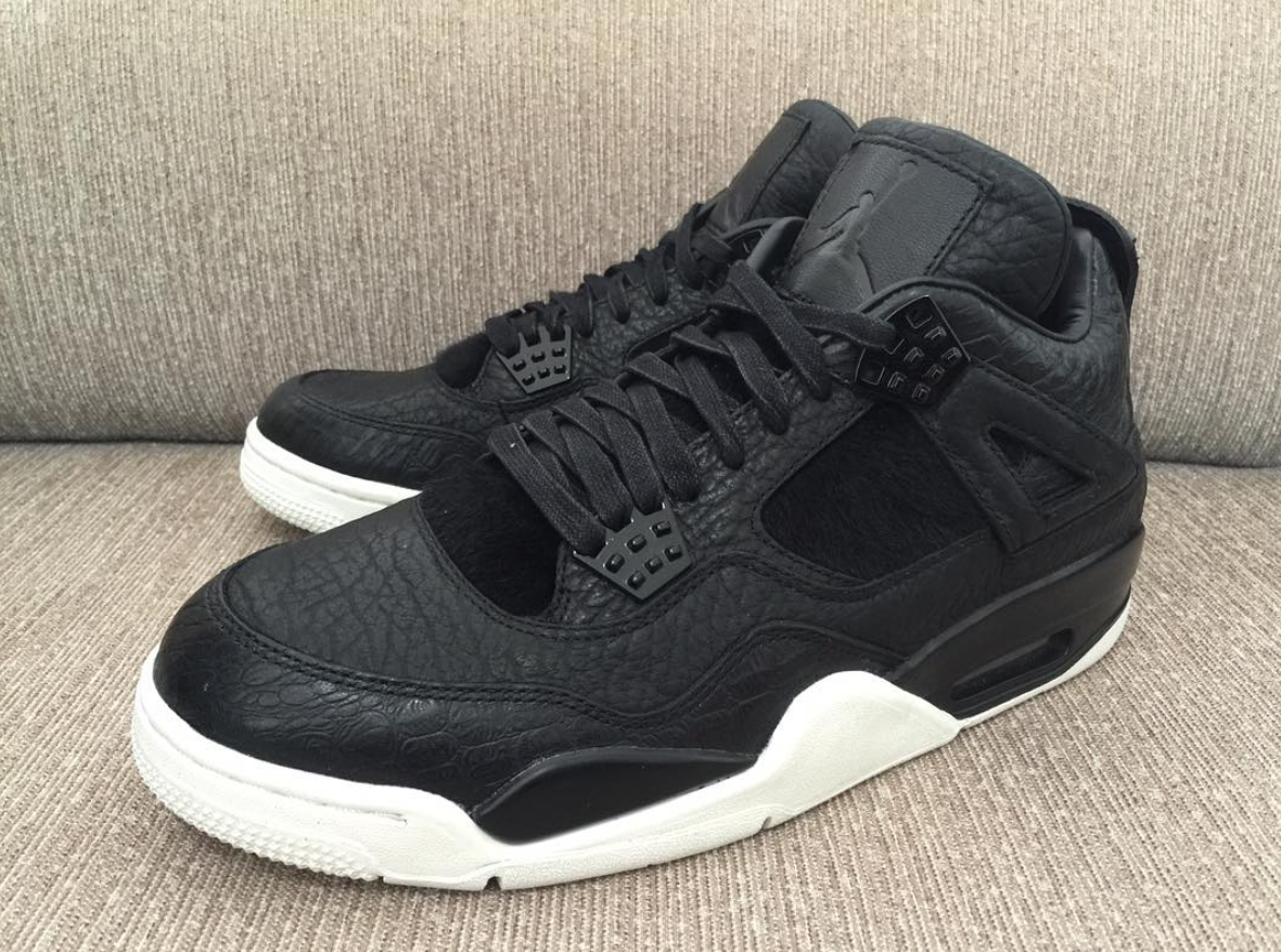 1617a7c24dd The Air Jordan 4 Premium in Black is showcased in more detail. This sneaker  is